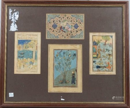 Four Persian miniatures, opaque pigments on paper, painted with figures, animals and a canal scene,
