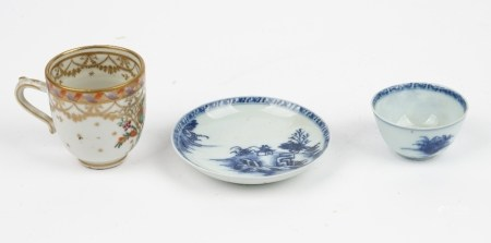 A small Chinese export blue and white teabowl and saucer from the Nanking Cargo, circa 1750,