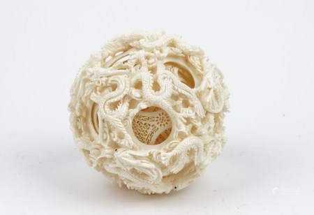 A large Canton ivory puzzle ball, early 20th century,