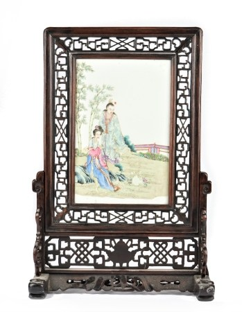 A Chinese famille-rose rectangular porcelain plaque, 20th century,