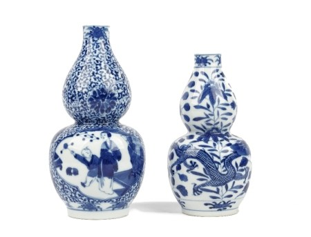 Two Chinese blue and white double-gourd vases, late 19th/early 20th century,