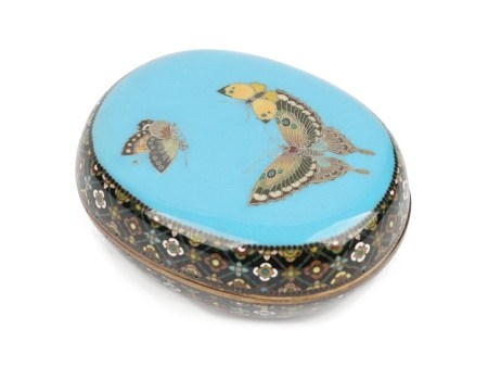 A rare small Japanese cloisonné box and cover by Namikawa Yasuyuki, Meiji period, of oval form,