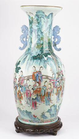 A large and impressive Chinese famille- rose two handled vase, first half 19th century,