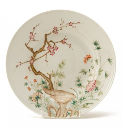 A FAMILLE ROSE 'THREE FRIENDS' PORCELAIN DISH