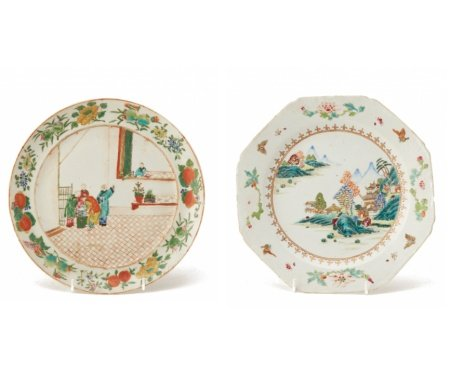 TWO FAMILLE ROSE PLATES