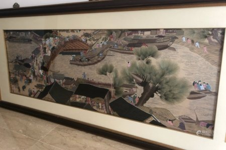 A LARGE EMBROIDERED PICTURE AFTER 'QINGMING SHANGHE TU'