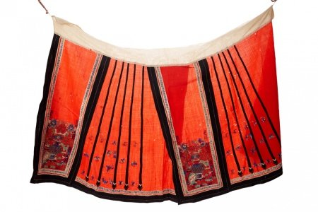 A CHINESE EMBROIDERED RED SKIRT