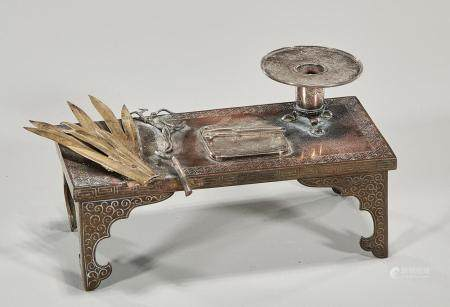 JAPANESE MIXED METAL FLOWER ARRANGING TABLE AND ITEMS