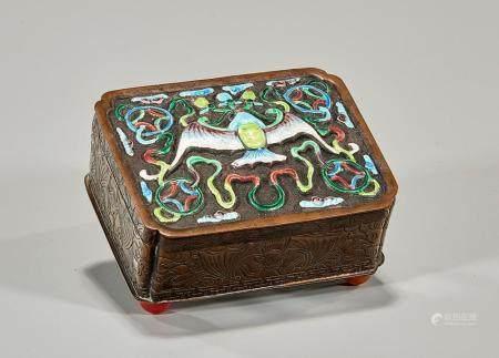 CHINESE ENAMELED METAL BOX