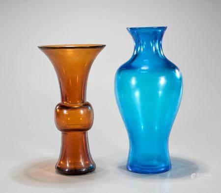TWO BEIJING GLASS VASES