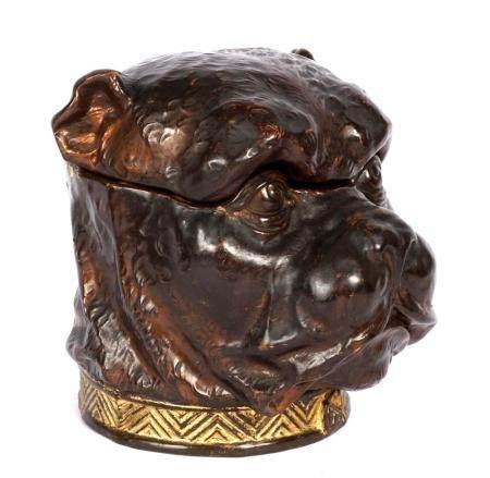 Continental Figural Bulldog Pottery Tobacco Jar