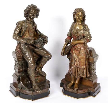 Pair Jean Didier Debut Bronze Sculptures