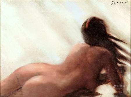 Andre Gisson Reclining Nude Woman Painting