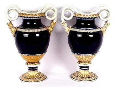 Pair Meissen Cobalt Snake Handled Urns