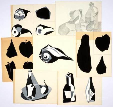 Six attrib. Fernand Leger Gouache Shape Studies