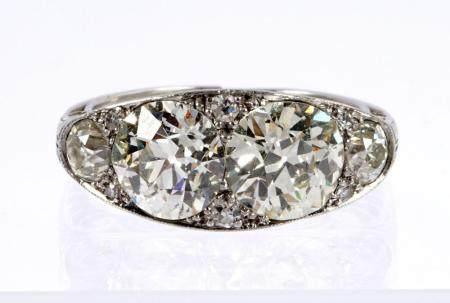 3.8 CTW Four Stone Platinum and Diamond Ring