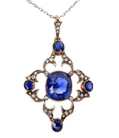 Victorian Gold Sapphire & Diamond Pendant Necklace