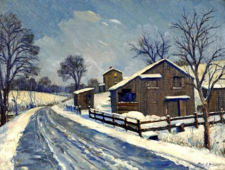 Matt Daly Rookwood Artist Winter Farm Painting