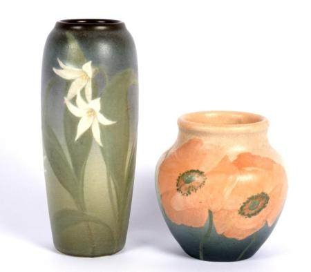 Two Rookwood Pottery Reed & Lincoln Vellum Vases