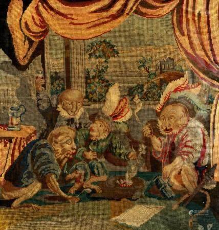 19th Century English Monkeys Smoking Needlepoint