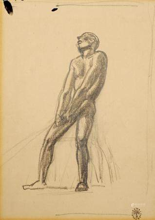 Rockwell Kent Pencil Illustration of a Nude Man