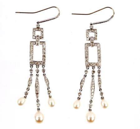 Pair Platinum Diamond and Pearl Chandelier Earings