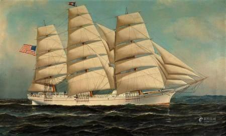 1911 Antonio Jacobsen Clipper Ship Painting
