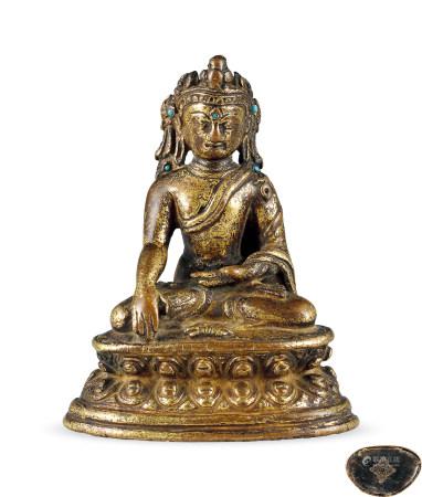 明代 銅鎏金寶冠佛像