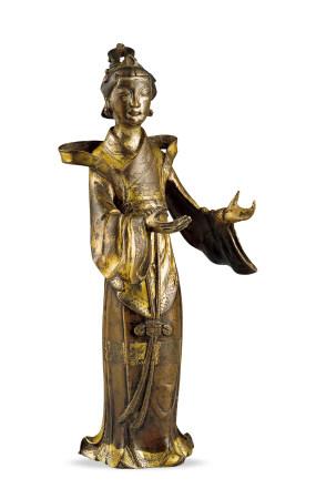 明代 銅鎏金仕女像