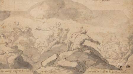 Giulio CARPIONI (1611/13-1678)Le jugement de MidasPlume et encre brune et grise, lavis gris20 x