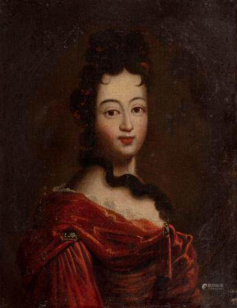 Ecole FRANCAISE du XVIIème siècle Portrait de femme au ruban rougeToile 47 x 36 cmSans cadre