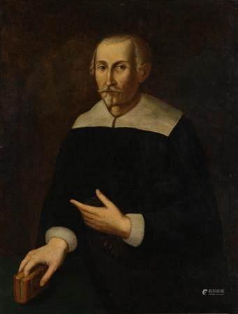 Ecole ITALIENNE du XVIIème sièclePortrait d'homme tenant un livreToile94 x 71,5 cmRestaurations