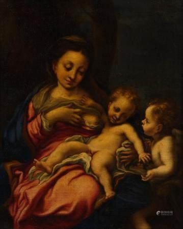 Ecole ITALIENNE du XVIIème siècle, d'après le CORREGELa Vierge à l'Enfant avec Saint Jean Bapti