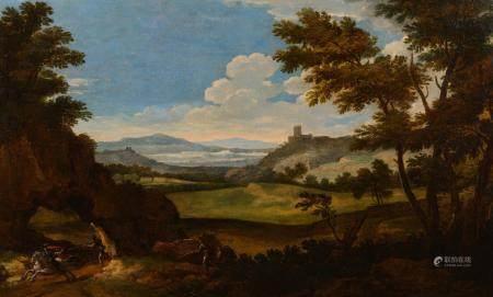 Attribué à Paolo ANESI (Rome 1697 - 1761)Scène de guet-apens dans un paysageToile89 x 148 cm