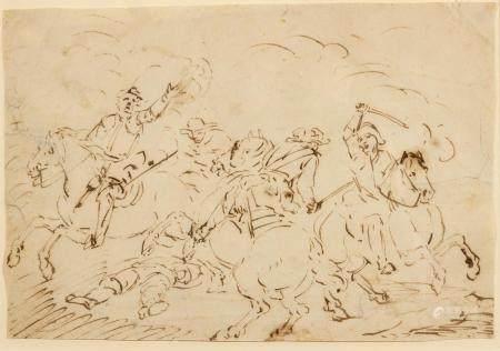 Attribué à Jacques COURTOIS (Saint Hippolte 1621 - Rome 1676)Scène de bataille Encre brune sur