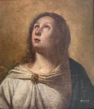 Ecole ESPAGNOLE vers 1660, La Vierge en busteToile33 x 29 cm.Cadre en bois et stuc doré