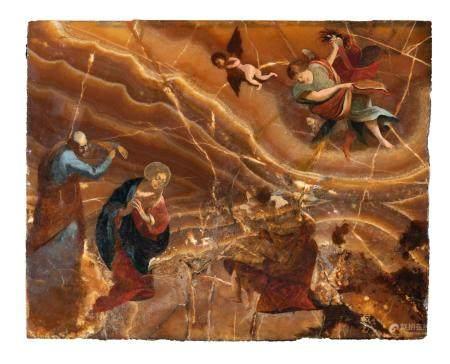 Ecole Italienne du XVIIème siècle Adoration Onyx 40 x 50 cmNombreuses restaurations