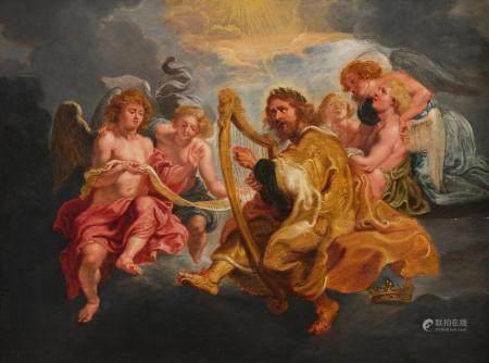Attribué à Theodoor van THULDEN(Bois-le-duc 1606 - 1669)Le roi David jouant de la harpePanneau