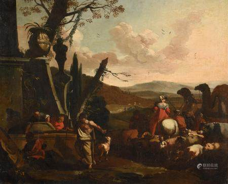 Dirck HELMBREKER (1633-1696)La traversée du guéBerger menant son troupeau Toiles60,5 x 74,5 cm