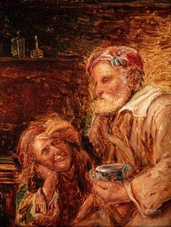 Ecole FLAMANDE du XVIIème siècle, suiveur Gillis Van TILBORCH La blague au vieil homme Toile 21