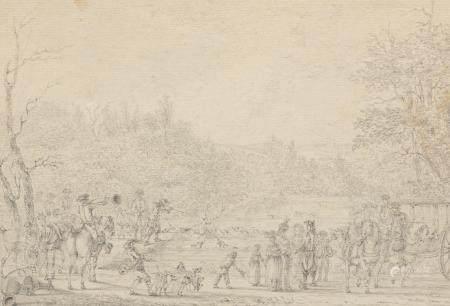Ecole FRANCAISE du XVIIIème siècleLe bat l'eauCrayon noir (contre-collé sur carton)(Petites tâc