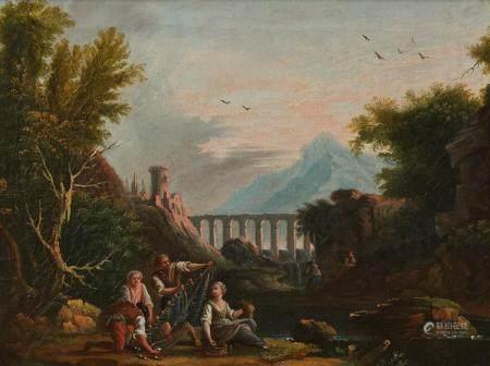 Jean Baptiste CLAUDOT (Badonviller 1733 – Nancy 1805)Pêcheurs dans un paysage à l'aqueducToile2