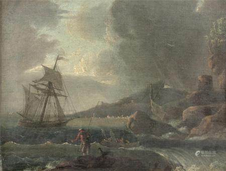 Ecole FRANCAISE de la fin du XVIIIème siècle, suiveur de Joseph VERNETPêcheurs près d'un port m