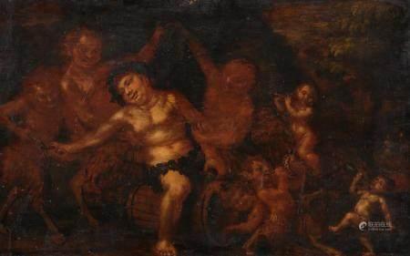 Ecole FLAMANDE vers 1700,Le festin de Bacchus chez les satyres Panneau, une planche64,5 x 105 c