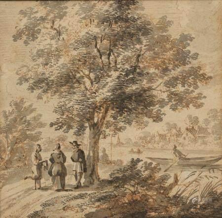 Ecole du NORD du XVIIIème sièclePaysage fluvial animéPlume encre brune et lavis gris monogrammé
