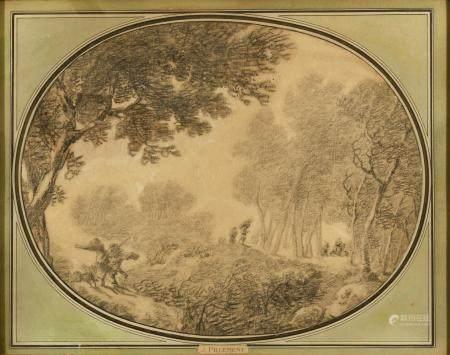 Jean-Baptiste PILLEMENT (Lyon 1728 - 1808) La course à travers les boisPierre noire36 x 46 cm
