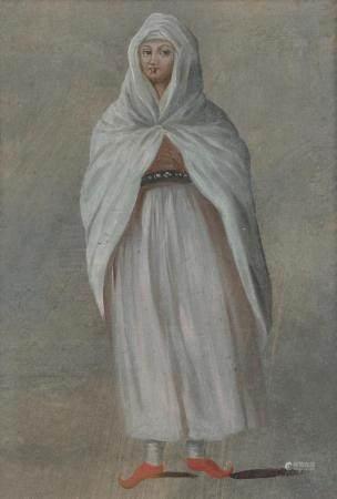 Ecole FRANCAISE de XVIIIe siècleJeune femme turque Huile sur carton26 x 18 cm