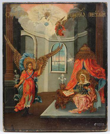 Antique Russian Icon, The Annunciation
