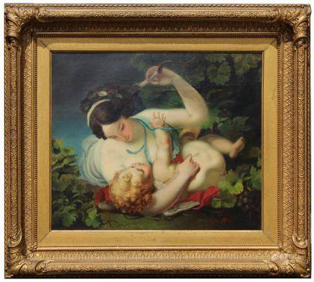 After Boucher, Signed Painting of Mother & Cherub