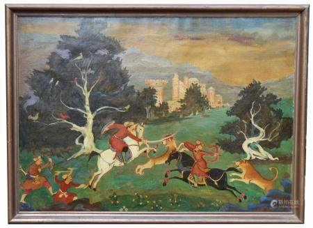 Antique Persian Hunt Scene Painting, Signed
